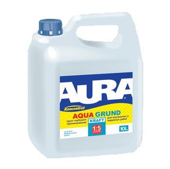 Грунт для внутренних и наружных работ Aura Aqua Grund Kraft 10л концентрат 1:5 Aura / Аура